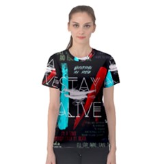 Twenty One Pilots Stay Alive Song Lyrics Quotes Women s Sport Mesh Tee