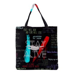 Twenty One Pilots Stay Alive Song Lyrics Quotes Grocery Tote Bag