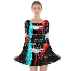 Twenty One Pilots Stay Alive Song Lyrics Quotes Long Sleeve Skater Dress