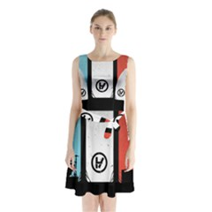 Twenty One 21 Pilots Sleeveless Waist Tie Chiffon Dress