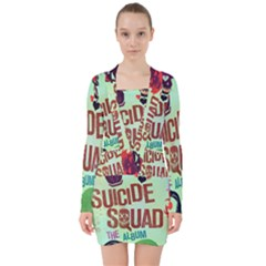 Panic! At The Disco Suicide Squad The Album V Neck Bodycon Long Sleeve Dress
