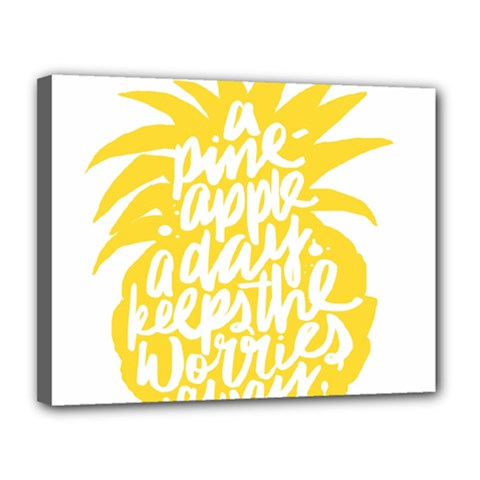 Cute Pineapple Yellow Fruite Canvas 14  X 11