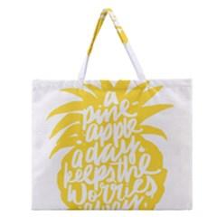 Cute Pineapple Yellow Fruite Zipper Large Tote Bag