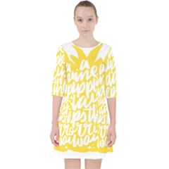 Cute Pineapple Yellow Fruite Pocket Dress