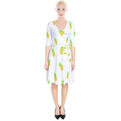 Cute Pineapple Fruite Yellow Green Wrap Up Cocktail Dress