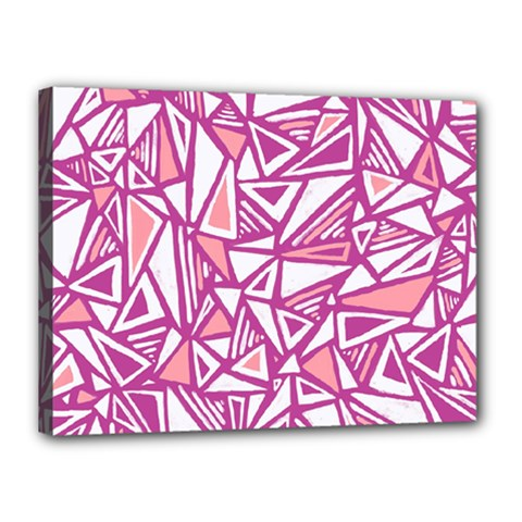 Conversational Triangles Pink White Canvas 16  X 12