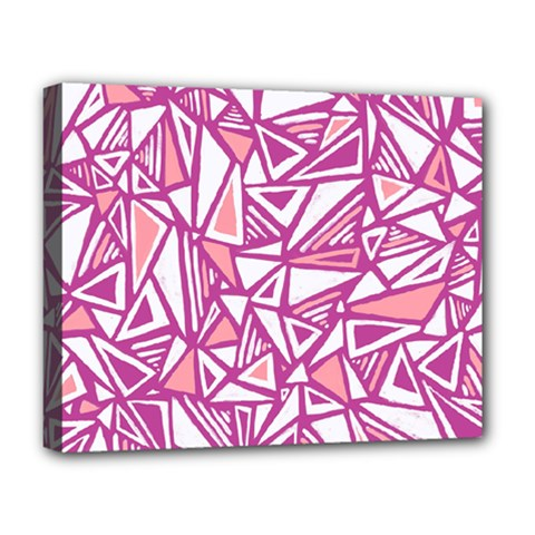 Conversational Triangles Pink White Deluxe Canvas 20  X 16