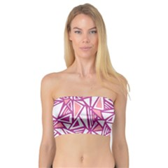 Conversational Triangles Pink White Bandeau Top