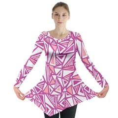 Conversational Triangles Pink White Long Sleeve Tunic