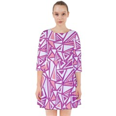 Conversational Triangles Pink White Smock Dress