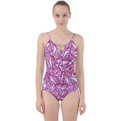 Conversational Triangles Pink White Cut Out Top Tankini Set