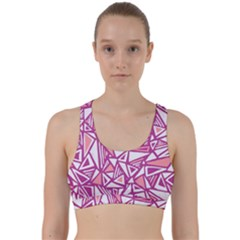 Conversational Triangles Pink White Back Weave Sports Bra