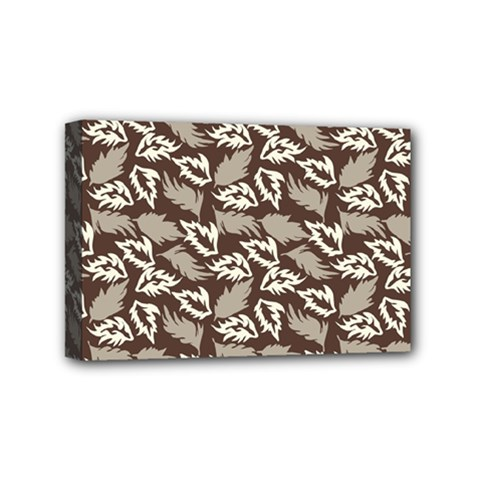 Dried Leaves Grey White Camuflage Summer Mini Canvas 6  X 4