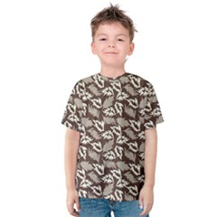 Dried Leaves Grey White Camuflage Summer Kids  Cotton Tee