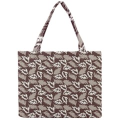 Dried Leaves Grey White Camuflage Summer Mini Tote Bag