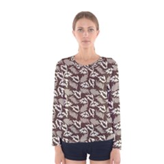 Dried Leaves Grey White Camuflage Summer Women s Long Sleeve Tee