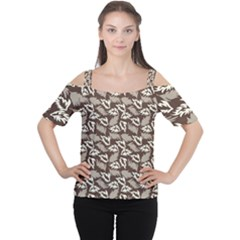 Dried Leaves Grey White Camuflage Summer Cutout Shoulder Tee
