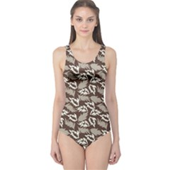 Dried Leaves Grey White Camuflage Summer One Piece Swimsuit
