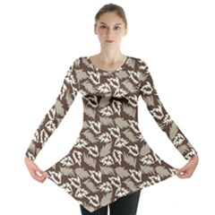 Dried Leaves Grey White Camuflage Summer Long Sleeve Tunic