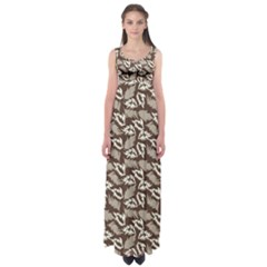 Dried Leaves Grey White Camuflage Summer Empire Waist Maxi Dress