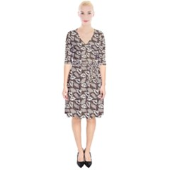 Dried Leaves Grey White Camuflage Summer Wrap Up Cocktail Dress
