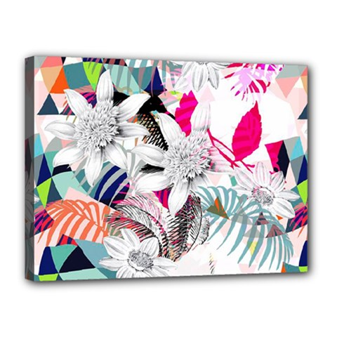 Flower Graphic Pattern Floral Canvas 16  X 12