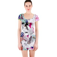 Flower Graphic Pattern Floral Short Sleeve Bodycon Dress