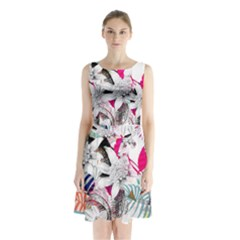 Flower Graphic Pattern Floral Sleeveless Waist Tie Chiffon Dress