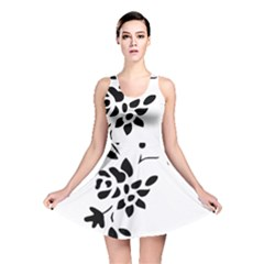 Flower Rose Black Sexy Reversible Skater Dress