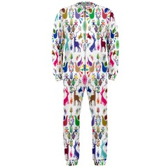 Birds Fish Flowers Floral Star Blue White Sexy Animals Beauty Rainbow Pink Purple Blue Green Orange Onepiece Jumpsuit (men)