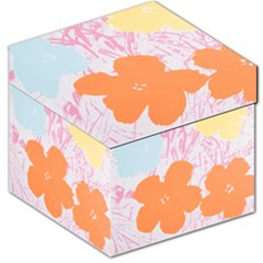 Flower Sunflower Floral Pink Orange Beauty Blue Yellow Storage Stool 12
