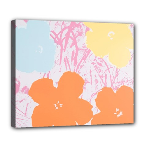 Flower Sunflower Floral Pink Orange Beauty Blue Yellow Deluxe Canvas 24  X 20