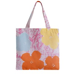 Flower Sunflower Floral Pink Orange Beauty Blue Yellow Zipper Grocery Tote Bag