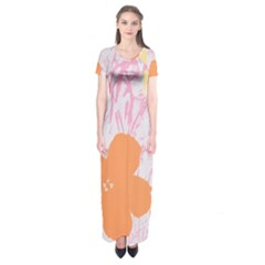 Flower Sunflower Floral Pink Orange Beauty Blue Yellow Short Sleeve Maxi Dress