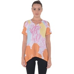 Flower Sunflower Floral Pink Orange Beauty Blue Yellow Cut Out Side Drop Tee