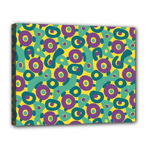 Discrete State Turing Pattern Polka Dots Green Purple Yellow Rainbow Sexy Beauty Canvas 14  X 11