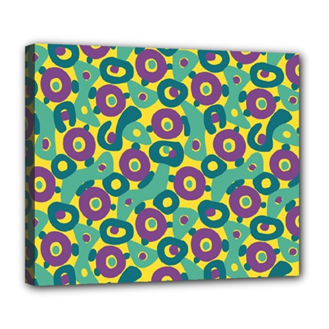 Discrete State Turing Pattern Polka Dots Green Purple Yellow Rainbow Sexy Beauty Deluxe Canvas 24  X 20