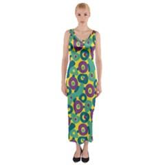Discrete State Turing Pattern Polka Dots Green Purple Yellow Rainbow Sexy Beauty Fitted Maxi Dress