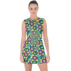 Discrete State Turing Pattern Polka Dots Green Purple Yellow Rainbow Sexy Beauty Lace Up Front Bodycon Dress