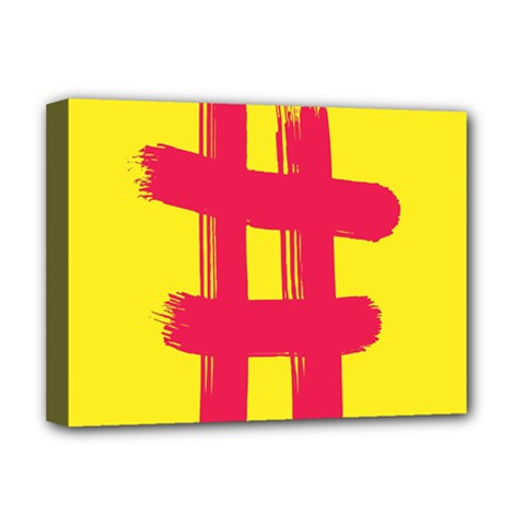 Fun Ain t Gone Fence Sign Red Yellow Flag Deluxe Canvas 16  X 12