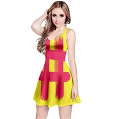 Fun Ain t Gone Fence Sign Red Yellow Flag Reversible Sleeveless Dress