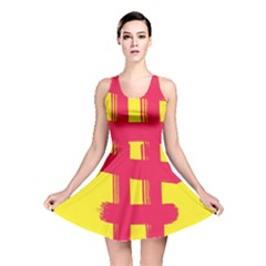 Fun Ain t Gone Fence Sign Red Yellow Flag Reversible Skater Dress