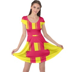 Fun Ain t Gone Fence Sign Red Yellow Flag Cap Sleeve Dress