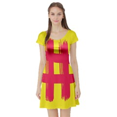 Fun Ain t Gone Fence Sign Red Yellow Flag Short Sleeve Skater Dress