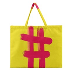 Fun Ain t Gone Fence Sign Red Yellow Flag Zipper Large Tote Bag