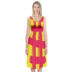 Fun Ain t Gone Fence Sign Red Yellow Flag Midi Sleeveless Dress