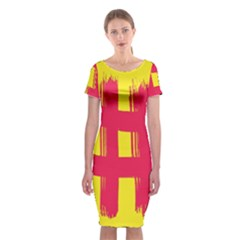 Fun Ain t Gone Fence Sign Red Yellow Flag Classic Short Sleeve Midi Dress