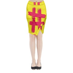 Fun Ain t Gone Fence Sign Red Yellow Flag Midi Wrap Pencil Skirt