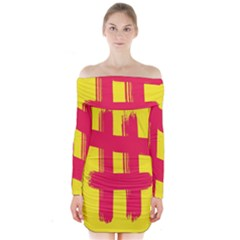 Fun Ain t Gone Fence Sign Red Yellow Flag Long Sleeve Off Shoulder Dress