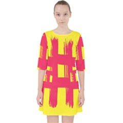Fun Ain t Gone Fence Sign Red Yellow Flag Pocket Dress